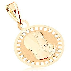 Prívesok zo žltého 9K zlata - okrúhly medailón s Pannou Máriou, lesklo-matný GG82.11 vyobraziť
