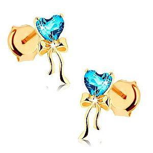 Zlaté náušnice 585 - lesklá mašlička, modré topásové srdiečko GG88.10 vyobraziť