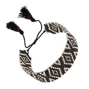 Nastaviteľný náramok z korálok, kosoštvorcový vzor, čierna a strieborná farba SP89.07 vyobraziť