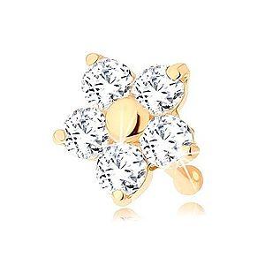 Zlatý piercing do nosa 585 - rovný, trblietavý kvietok z čírych zirkónov GG95.24 vyobraziť