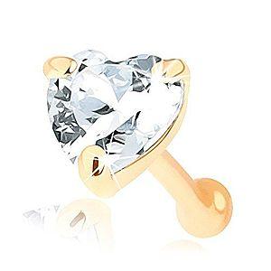 Piercing do nosa zo zlata 585, rovný - číre zirkónové srdiečko GG96.14 vyobraziť