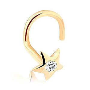 Zlatý piercing do nosa 585 - ligotavá hviezdička so zirkónom GG95.36 vyobraziť