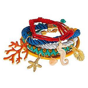 Multináramok, farebné šnúrky a obruč, prívesky - korál, mušle, morský koník X9.20 vyobraziť