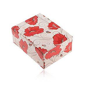 Darčeková krabička na prsteň a náušnice alebo retiazku, červené kvety Y60.3 vyobraziť