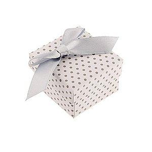 Darčeková krabička na prsteň alebo náušnice, biely povrch, sivé bodky a mašľa Y33.9 vyobraziť