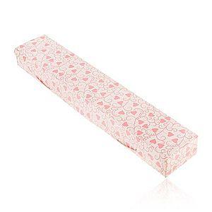 Darčeková krabička na retiazku alebo hodinky, ružové srdiečka a špirály Y36.4 vyobraziť