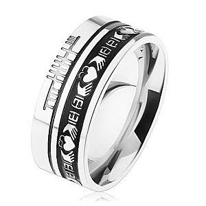 Prsteň z ocele 316L, strieborná farba, čierny pruh, ornamenty, 8 mm HH12.15 vyobraziť