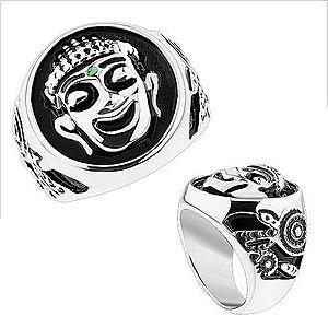 Masívny prsteň, oceľ 316L, strieborná farba, čierna glazúra, usmiaty Budha HH12.13 vyobraziť
