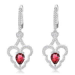 Trblietavé náušnice, striebro 925, zvlnený obrys srdca, ružová kvapka S25.31 vyobraziť
