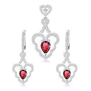Set prívesku a náušníc, striebro 925, zvlnený obrys srdca, ružová kvapka S42.20 vyobraziť