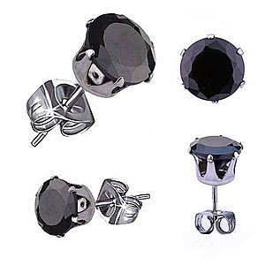 Náušnice z chirurgickej ocele, strieborná farba, čierny okrúhly zirkón, 4 mm S55.10 vyobraziť
