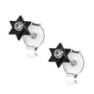 Puzetové náušnice, striebro 925, čierna lesklá hviezdička, krištálik čírej farby I29.24 vyobraziť