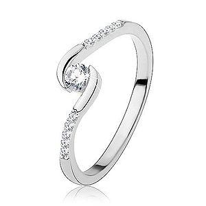 Zásnubný prsteň, striebro 925, úzke ramená, číry okrúhly zirkón S60.08 vyobraziť