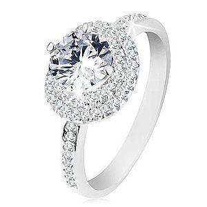 Zásnubný prsteň, striebro 925, dvojitý lem, okrúhly číry zirkón S61.24 vyobraziť