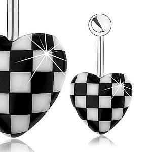 Oceľový piercing do pupka, vypuklé akrylové srdce, vzor šachovnice SP25.26 vyobraziť