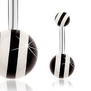 Oceľový piercing do pupka, strieborná farba, lesklé čierno-biele guličky SP27.21 vyobraziť