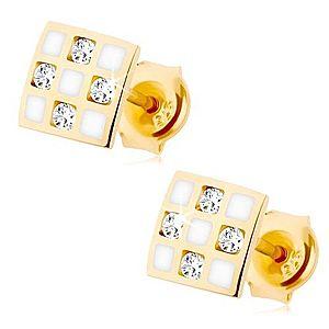 Zlaté náušnice 375 - štvorček so šachovnicou, číre zirkóniky, biela glazúra GG68.31 vyobraziť