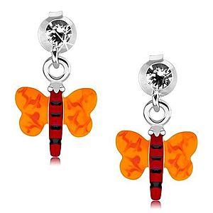 Strieborné 925 náušnice, motýlik s červeným telom a oranžovými krídlami PC18.08 vyobraziť
