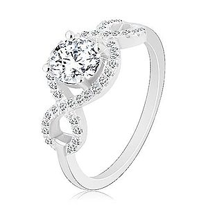 Zásnubný prsteň, striebro 925, zirkónové vlnky, okrúhly brúsený zirkón R26.20 vyobraziť