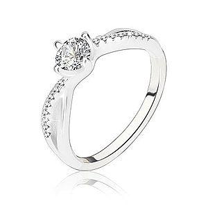 Zásnubný prsteň, striebro 925, zvlnené prepletené ramená, číry zirkón C22.17 vyobraziť