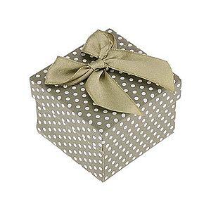 Darčeková krabička na prsteň alebo náušnice, zelený povrch, bodky, mašľa Y40.5 vyobraziť