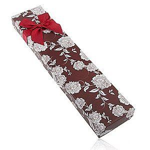 Darčeková krabička na náhrdelník alebo náramok, hnedý odtieň, biele kvety Y40.4 vyobraziť