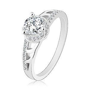 Zásnubný prsteň, striebro 925, trblietavé ramená s výrezmi, okrúhly zirkón R27.31 vyobraziť