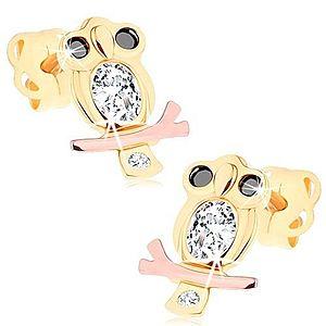 Náušnice v 14K zlate - múdra sova s čírym bruškom a čiernymi očami GG104.32 vyobraziť