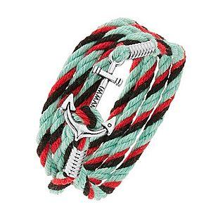 Šnúrkový náramok na ruku, tyrkysová, červená a čierna farba, lesklá kotva Z41.4 vyobraziť