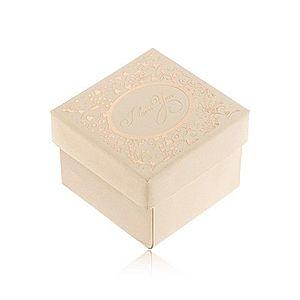Darčeková krabička v béžovom odtieni, ornamenty a nápis zlatej farby Y41.05 vyobraziť