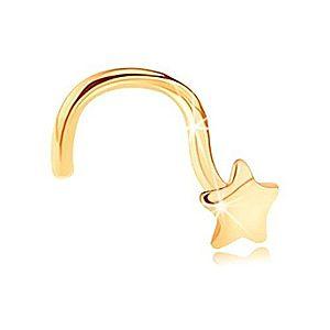 Zlatý zahnutý piercing do nosa 585 - lesklá päťcípa hviezdička GG151.03 vyobraziť