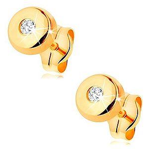 Zlaté náušnice 585 - malý lesklý kruh s čírym zirkónikom uprostred GG166.01 vyobraziť