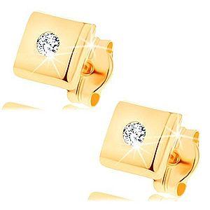 Náušnice zo žltého 14K zlata - lesklé štvorčeky, zirkóniky čírej farby GG149.13 vyobraziť
