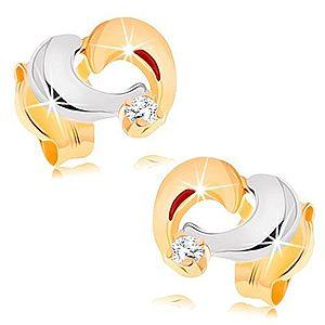 Zlaté náušnice 585 - dvojfarebná kontúra asymetrického srdiečka GG148.11 vyobraziť