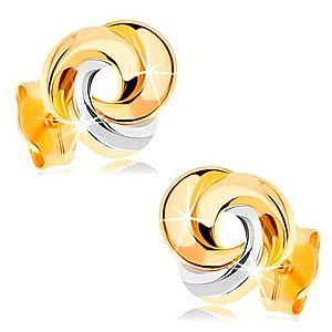 Zlaté náušnice 585 - tri prepojené prstence, žlté a biele zlato GG148.09 vyobraziť