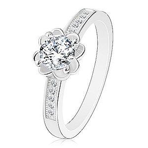 Strieborný zásnubný prsteň 925, číry ligotavý kvietok, zdobené ramená J10.08 vyobraziť