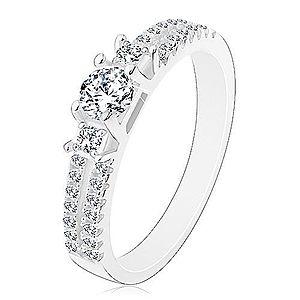 Zásnubný prsteň, striebro 925, rozdelené zirkónové ramená, tri číre zirkóny J10.14 vyobraziť