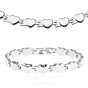 Set z chirurgickej ocele - náhrdelník a náramok, lesklé pospájané srdiečka Y24.10 vyobraziť