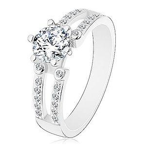 Zásnubný prsteň, striebro 925, výrezy na trblietavých ramenách, číry zirkón J12.18 vyobraziť