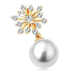 Prívesok v žltom 14K zlate - trblietavá snehová vločka, guľatá biela perla GG123.07 vyobraziť