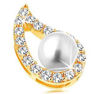 Prívesok v žltom 14K zlate - asymetrický obrys kvapky, číre zirkóny, perla GG123.08 vyobraziť