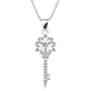 Strieborný 925 náhrdelník, retiazka s príveskom, kľúčik s kvietkom, číre zirkóny AC13.17 vyobraziť