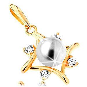 Prívesok zo žltého 14K zlata - kontúra kosoštvorca, číre zirkóny, biela perla GG123.05 vyobraziť