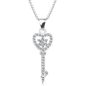 Strieborný 925 náhrdelník - retiazka s príveskom, zirkónový kľúč - srdce, kvet AC13.22 vyobraziť