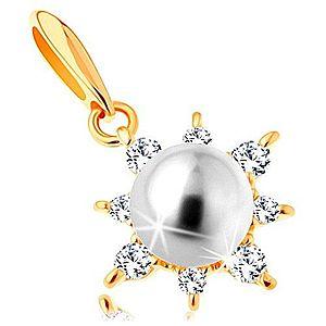 Prívesok zo žltého 14K zlata - ligotavé slnko, guľatá perla bielej farby GG123.06 vyobraziť