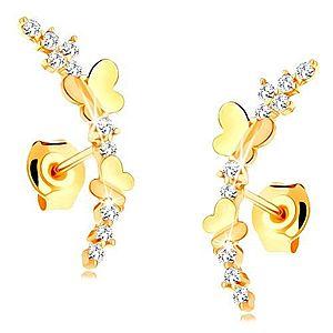 Náušnice zo žltého 14K zlata - číra zirkónová vetvička, lesklé motýle GG115.06 vyobraziť