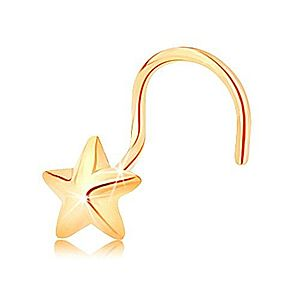 Zahnutý zlatý piercing 585 - päťcípa vypuklá hviezdička s lesklým povrchom GG142.05 vyobraziť