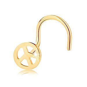 Zlatý piercing 585, zahnutý - okrúhly symbol mieru, lesklý povrch GG143.04 vyobraziť