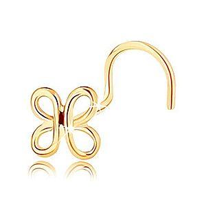 Zahnutý zlatý piercing do nosa 585 - lesklá kontúra motýlika GG143.02 vyobraziť