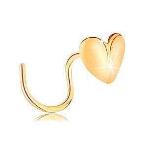 Zlatý piercing do nosa 585, zahnutý - lesklé srdiečko, zalomené v strede GG142.09 vyobraziť